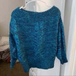 Blue Chunky Knit off the shoulder sweater